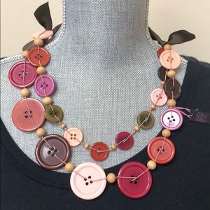 Whimsical Button Necklace/Ribbon Tie